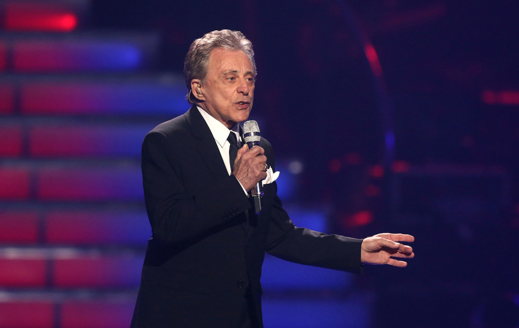 """In this May 16, 2013 file photo, Frankie Valli performs at the """"American Idol"""" finale at the Nokia Theatre at L.A. Live in Los Angeles. The man behind the trademark falsetto  """"Sherry,"""" """"Big Girls Don't Cry"""" and other Four Seasons hits from 50 years ago will be in Portland Saturday along with bandmate Bob Gaudio to honor late Mainer Bob Crewe."""