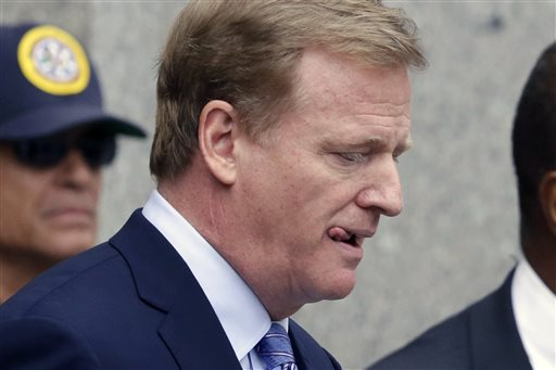 "NFL Commissioner Roger Goodell leaves federal court on Aug. 31, 2015. In announcing Brady's suspension, the commissioner said he had concluded that Brady ""knew about, approved of, consented to, and provided inducements and rewards"" to ensure balls were deflated. The Associated Press"