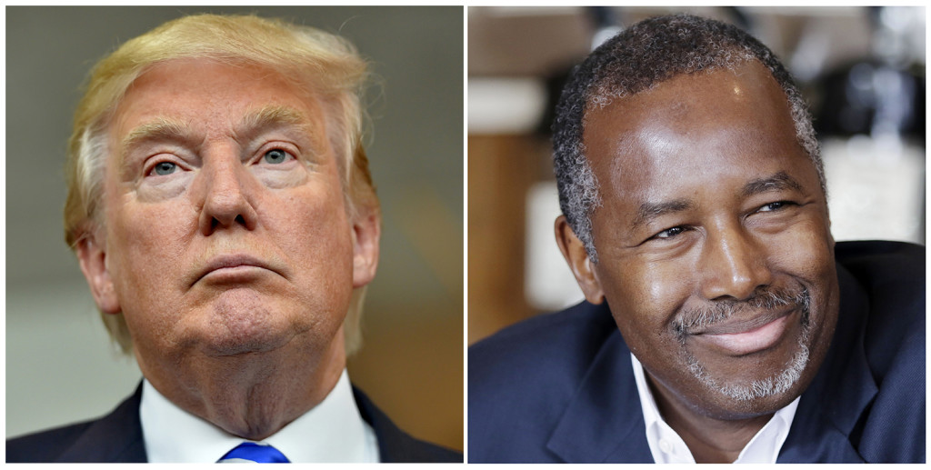 Republican presidential candidates Donald Trump and Ben Carson. The Associated Press