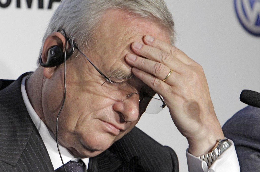 Martin Winterkorn, CEO of Volkswagen. The company admits that it intentionally installed software programmed to switch engines to a cleaner mode during official emissions testing. The Associated Press