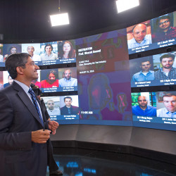 Harvard Business School professor and faculty chair of HBX Bharat Anand demonstrates the online classroom that allows real-time interaction between professors and students from around the world. The Associated Press