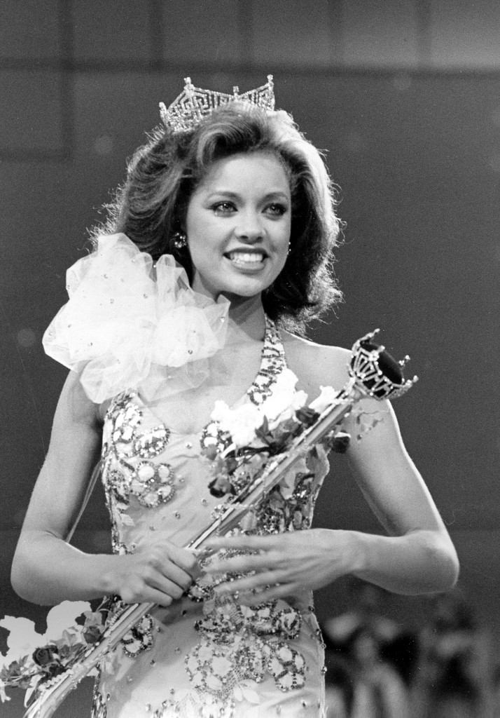 Miss New York Vanessa Williams appears during her coronation walk after she was crowned Miss America 1984 at the Miss America Pageant in Atlantic City, N.J. Williams resigned after Penthouse magazine published sexually explicit photographs of her taken several years earlier. The Associated Press