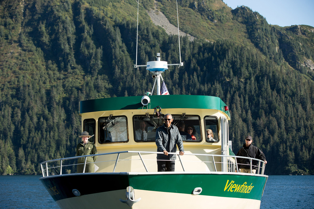 President Barack Obama takes a boat tour of glaciers to see the effects of global warming in Alaska Tuesday. While he continues his historic three-day trip to Alaska, political forces have aligned in his favor in Washington. The Associated Press