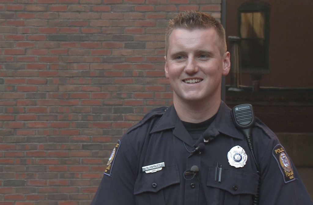 "Officer Sean Hurley says he was just doing his job when he encountered a heroin addict and, according to the man, ""shook my hand, pulled me in for a hug, and told me he would say a prayer for me."" Courtesy WCSH-TV"