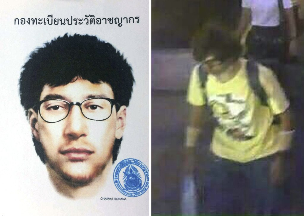 A sketch and closed circuit television image of the main suspect in a deadly bombing at the Erawan shrine in downtown Bangkok on  Aug. 17, 2015. Royal Thai Police via AP