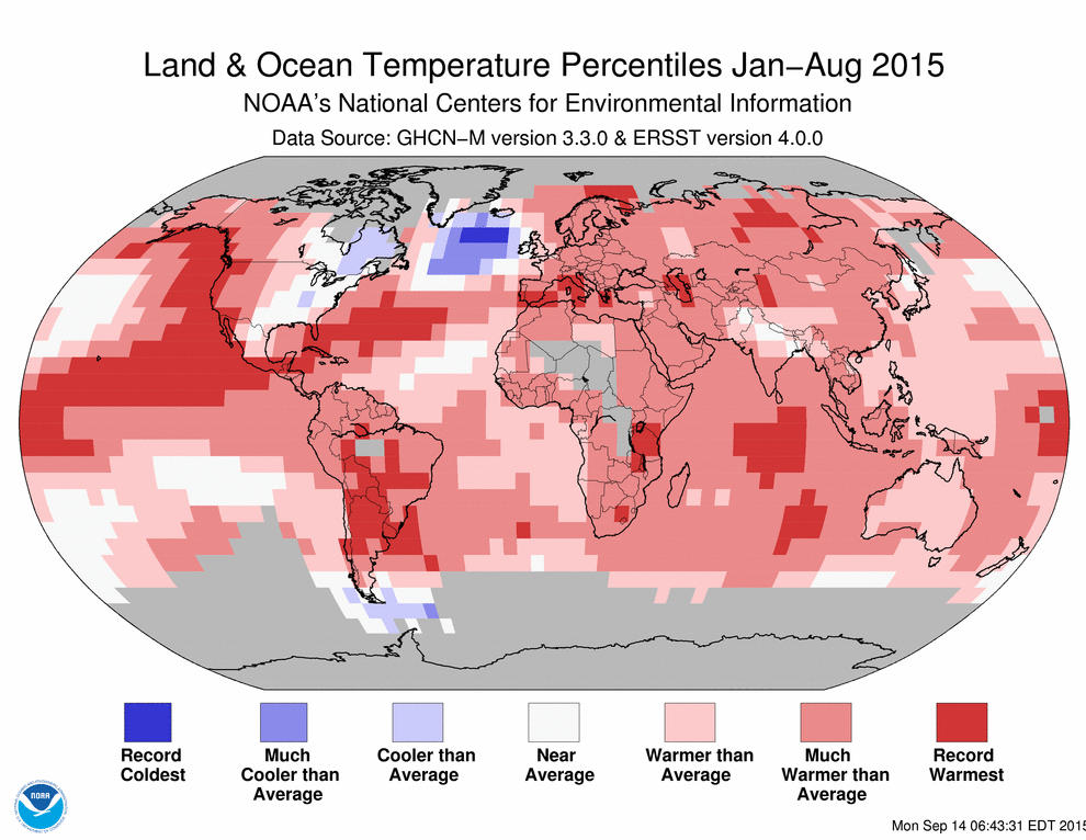 January-August 2015 Blended Land and Sea Surface Temperature Percentiles (NOAA)