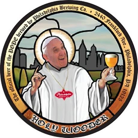Tte label of  Holy Wooder, a beer inspired by Pope Francis' visit to Philadelphia. The Philadelphia Brewing Co. says it has delivered a half-keg of the beer to St. Charles Borromeo Seminary, where the pope will be staying during his visit. pope's visit. Philadelphia Brewing Co. via AP