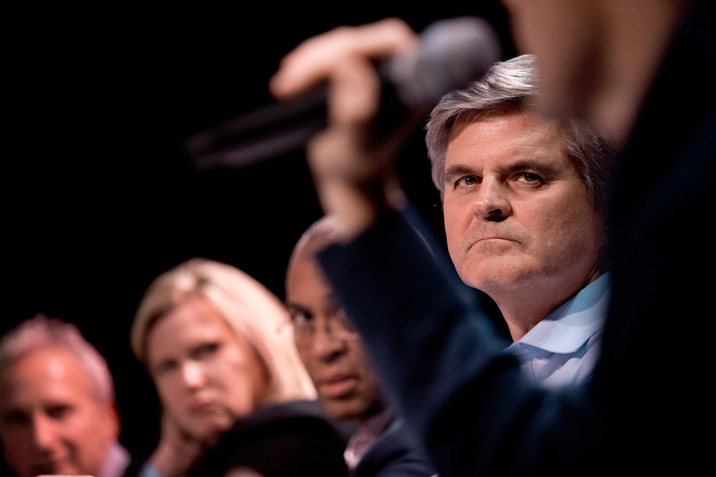 Steve Case, founder of AOL, listens to Maine entrepreneurs pitch their businesses as part of his Rise of the Rest tour at Port City Music Hall on Friday. Case runs the tour, which has visited 14 cities throughout the country and is aimed at finding small local businesses to invest in. The winner, Rapport, earned a $100,000 investment from Case. Gabe Souza/Staff Photographer