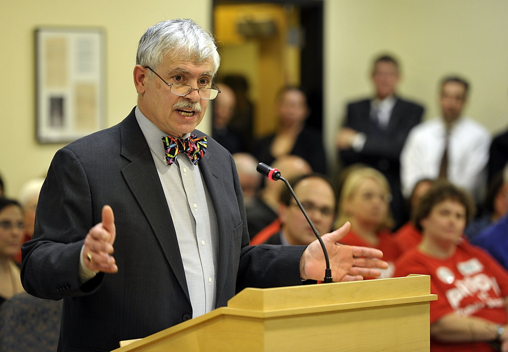 Sen. Tom Saviello speaks to the Joint Standing  Committee on Education and Cultural Affairs in 2013. The state Supreme Judicial Court will hear cases at Mt. Blue High School in Farmington Wednesday at Saviello's invitation.