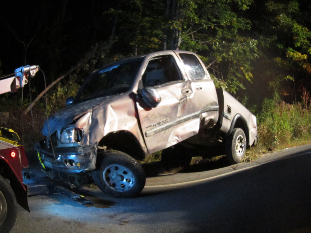 The 2001 Toyota pick-up driven by Samuel Jones, 19, of Farmington, struck a tree when it went off the road on Route 27 in Farmington. Jones was taken to the hospital with a head injury.