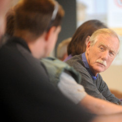 U.S. Sen. Angus King, right, listens to a safety presentation by Russ Drechsel, not pictured, during a visit Friday afternoon to Madison Paper Industries in Madison. Mill officials expect a decision later this month on whether the U.S. government will place subsidies on paper imports from Nova Scotia, thus leveling the playing field for U.S. producers such as Madison.