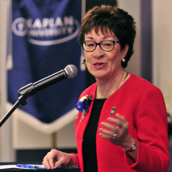 U.S. Sen. Susan Collins, R-Maine, speaks during an awards ceremony Saturday at Kaplan University in Augusta.