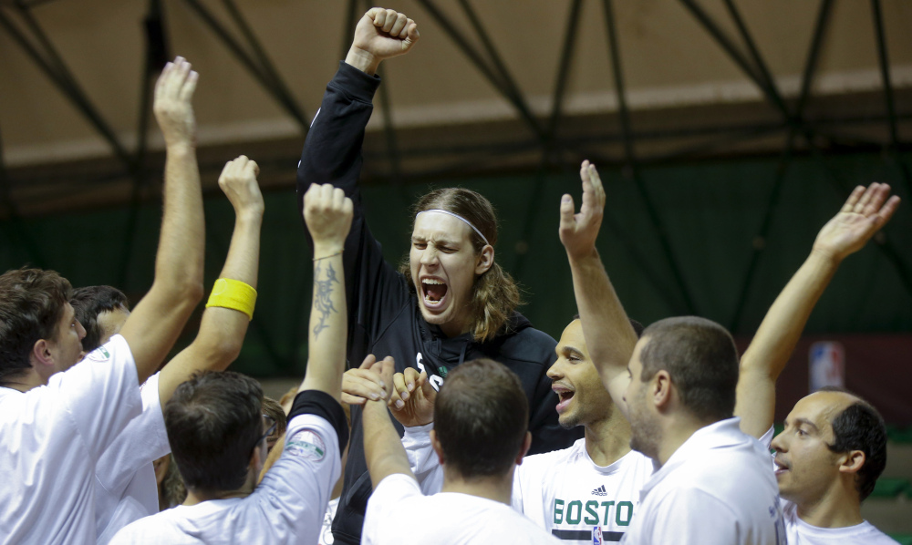 Boston's Kelly Olynyk shouts during an exhibition on the occasion of the 'NBA Special Olympic Basketball Clinic' on Saturday in Milan, Italy.