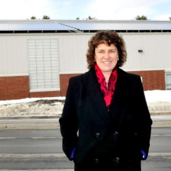 Thomas College President Laurie Lachance stands outside the Alfond Athletic Center in 2014. She and Colbey College President David Greene will be the featured speakers at the Business Breakfast Series Thursday.
