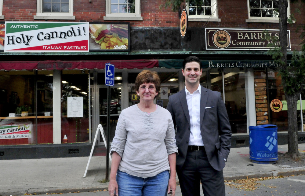 Holy Cannoli owner Candace Savinelli and Waterville Mayor Nick Isgro plan to open an Italian market in the closed Barrels Community Market store in Waterville.