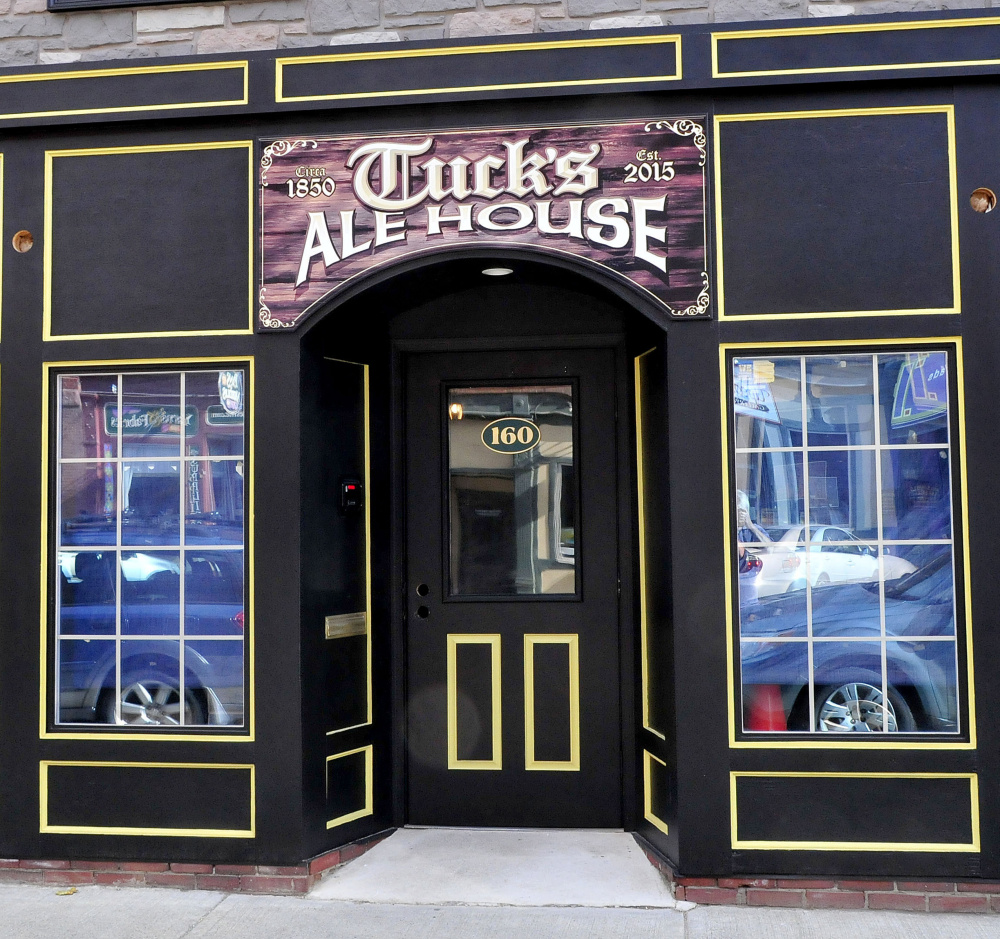 The entryway to Tuck's Ale House on Main Street, formerly a computer business, in Farmington on Monday. The pub is slated to open later this month.