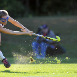 Staff photo by Michael G. Seamans   Messalonskee's Riley Field takes a shot during a Class A North game against Cony  on Thursday in Oakland.