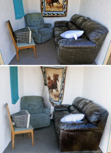 These before and after pictures show how little fire damage occurred in this mock room as fire was quickly controlled by a residential sprinkler head during a side by side on Thursday in Augusta.
