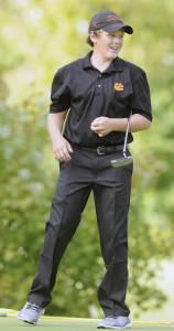 Staff file photo by Andy Molloy   Gardiner Area High School's Cody Rizzo reacts to a putt during a Kennebec Valley Athletic Conference Class B playoff match with Lincoln on Sept. 28. Rizzo and the Tigers will compete in the Class B state championships Saturday at Natanis Golf Course.