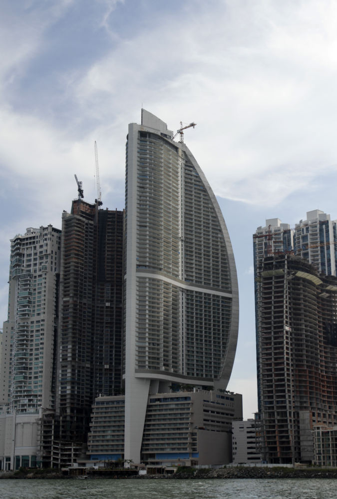 The Trump Ocean Club International Hotel and Tower, third building from left, is a 70-story waterfront tower along Panama Bay that was managed by the Trump empire.