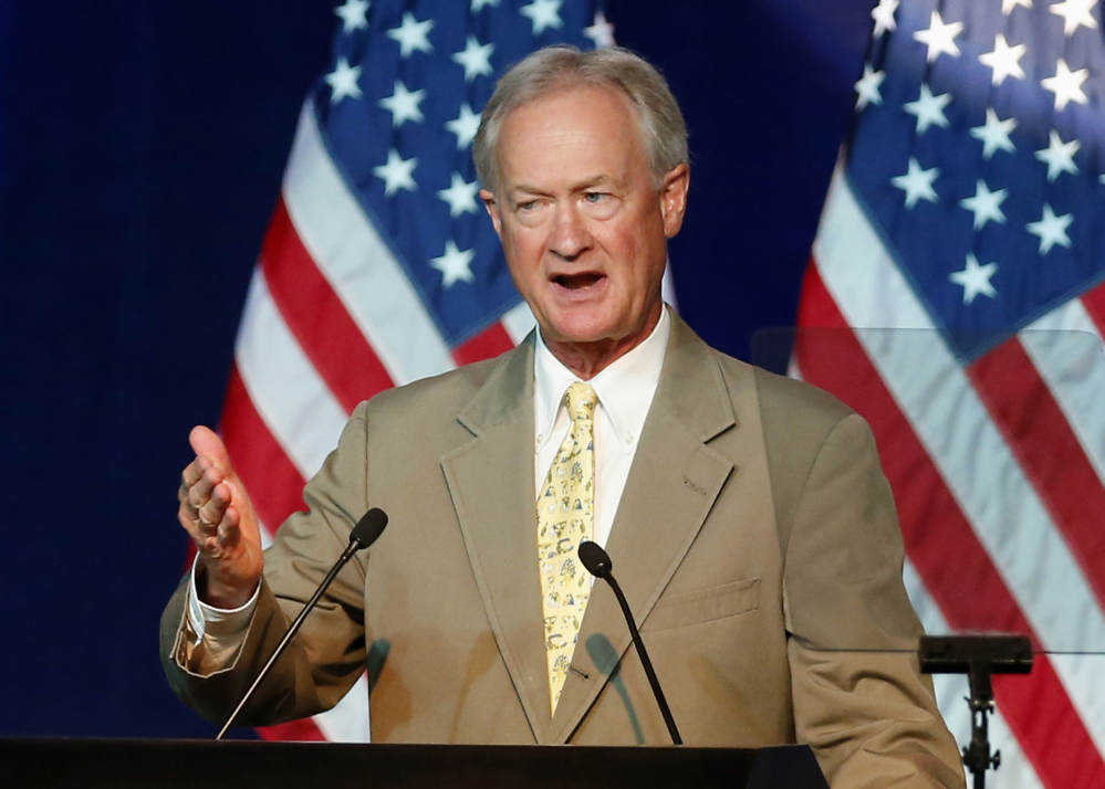 In this Aug. 28, 2015 file photo, Democratic presidential candidate, former Rhode Island Gov. Lincoln Chafee speaks in Minneapolis.