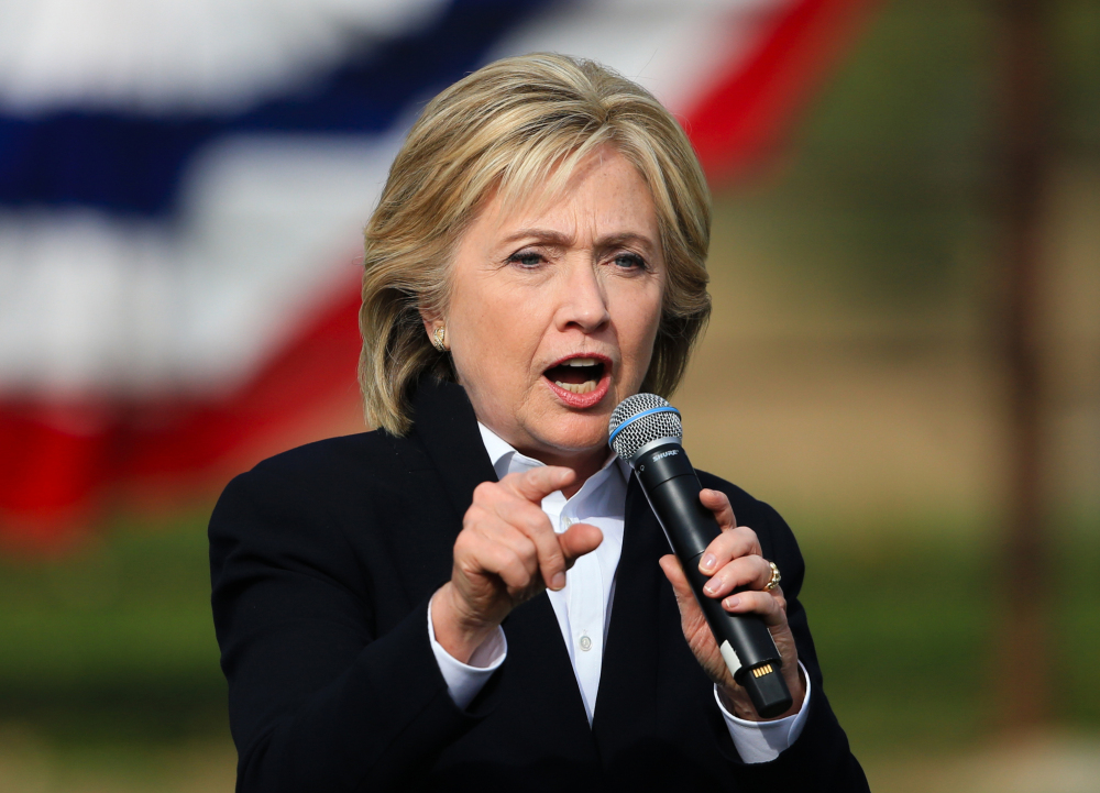 In this Oct. 7, 2015 file photo, Democratic presidential candidate Hillary Rodham Clinton speaks in Council Bluffs, Iowa.