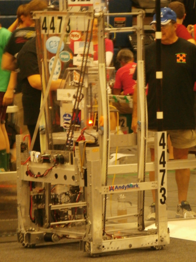 Big Ben, a robot built by Hall-Dale High School's REM Delta Prime Robotics Team, sets up before a match at Mainely Spirit.