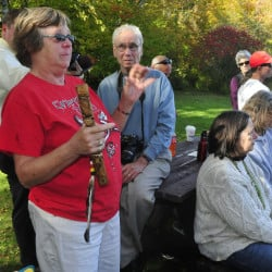 Cheryl Seamans, of Athens, became emotional while speaking during an Indigenous Peoples Day rally in Skowhegan on Monday. The rallies are held nationally on Columbus Day to highlight mistreatment of indigenous people worldwide by Europeans.
