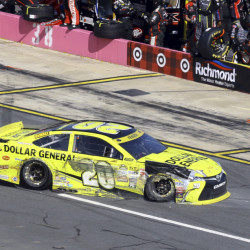 Matt Kenseth takes his damaged car to the garage area during the Bank of America 500 on Sunday at Charlotte Motor Speedway in Concord, N.C. After a 42nd-place finish, Kenseth finds himself 10th in the 12-driver Chase field.