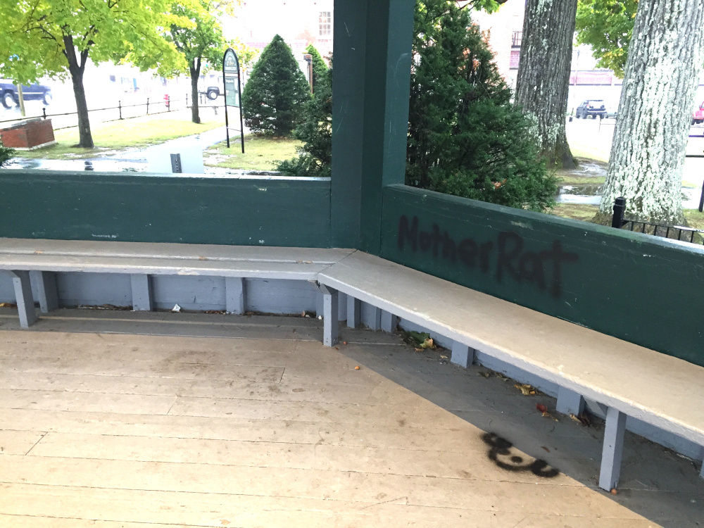 The vandalized areas of the gazebo will have to be scraped of existing paint, sanded, and repainted after it was vandalized last week. Two women, from Portland and Yarmouth, are charged with the vandalism.