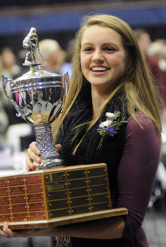 Staff file photo by Andy Molloy   Scarborough High School's Maddy Dobecki was the Miss Maine Field Hockey recipient last season. The award is given to the top senior in the state.
