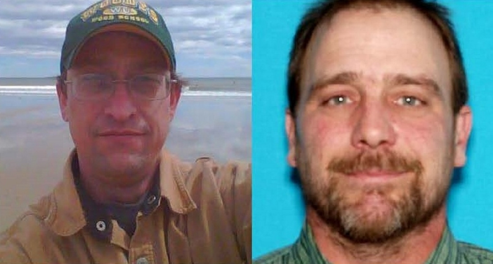 Travis Mosher, left, of Rangeley, and Douglas Richmond, of Madrid, were last seen at 2 p.m. Tuesday as they went off-roading in Mosher's Jeep in Franklin County. The Maine Warden Service is seeking informatin that can help find them.