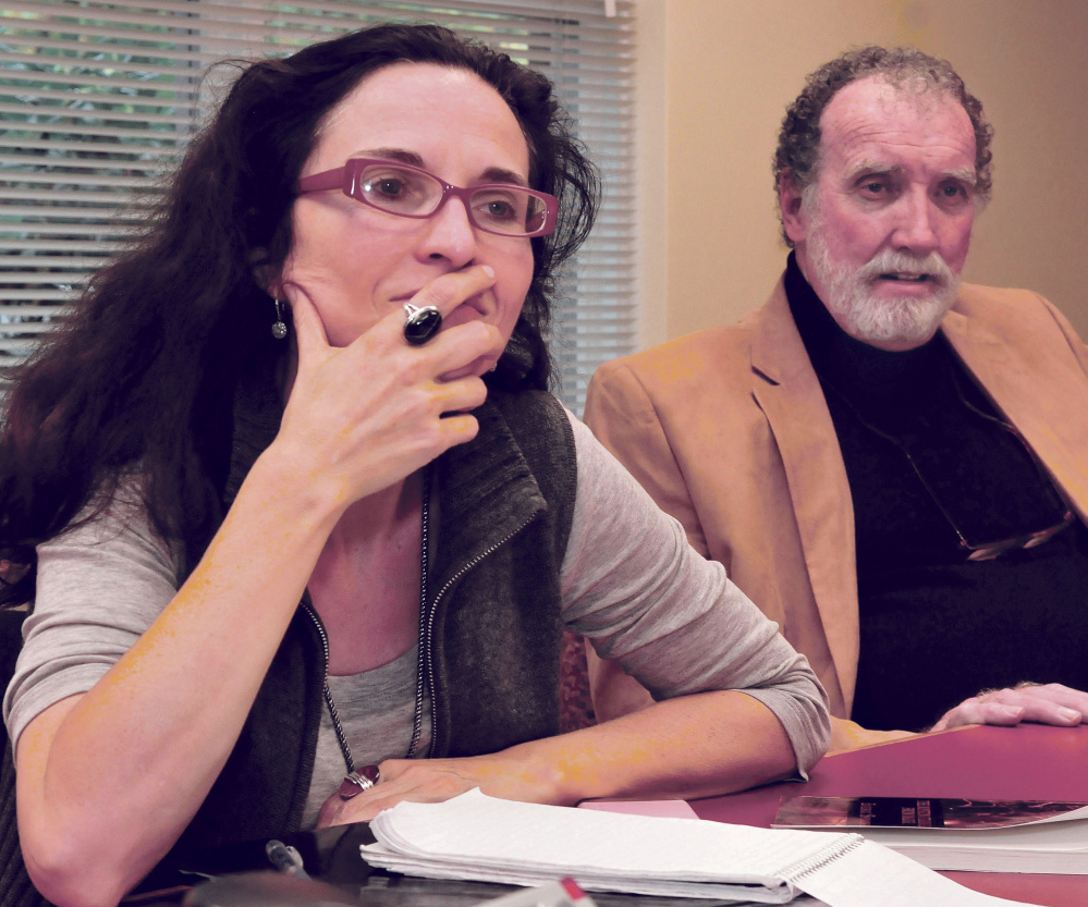 Portland Helmich, left, producer for Northern Light Productions, and Brian Cavanagh, an assistant state attorney from Florida, speak about their investigation and documentary about Charles Terry, of Waterville, who may have been a serial killer.