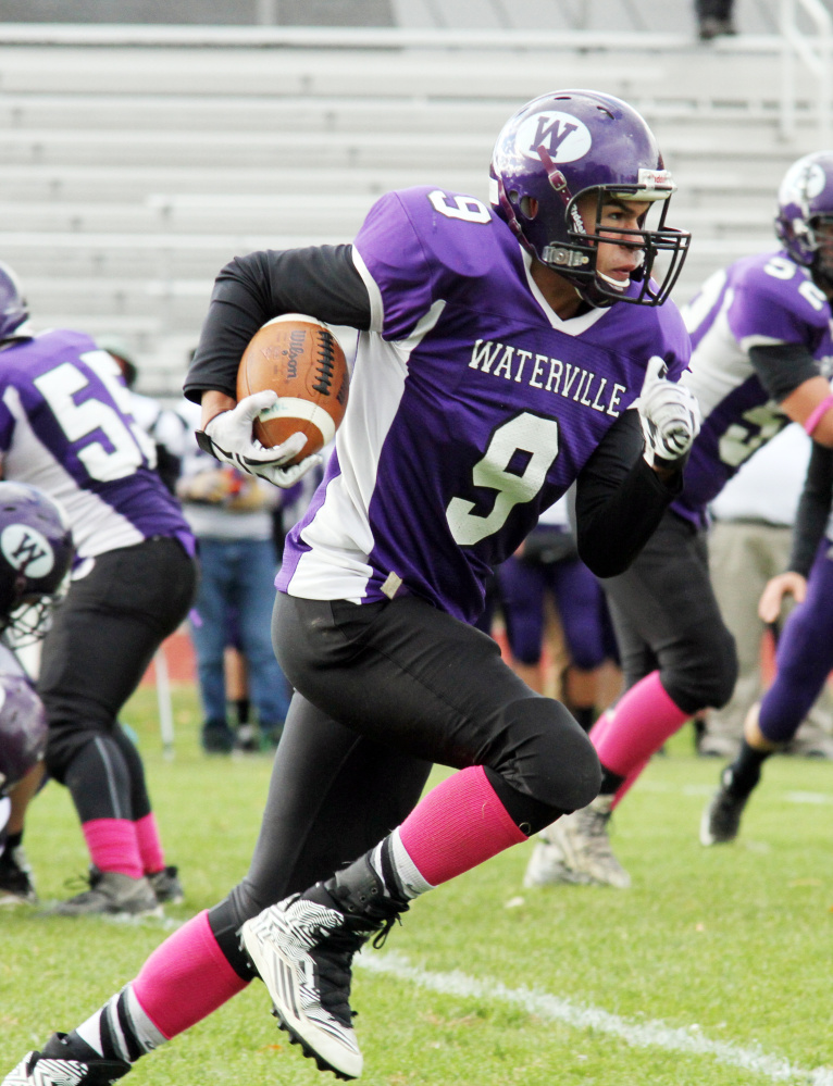 Waterville running back Demetrius Ramirez heads to the end zone in the second half of a Big Ten Conference game against John Bapst. Ramirez scored two touchdowns as the Panthers won, 16-0.