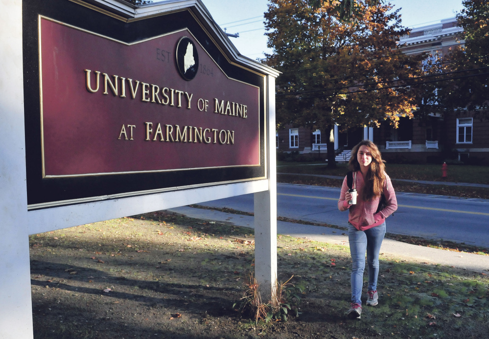 Veronica Manasco heads to class at the University of Maine at Farmington Thursday. Manasco was recently recognized for achieving academically despite adversity.