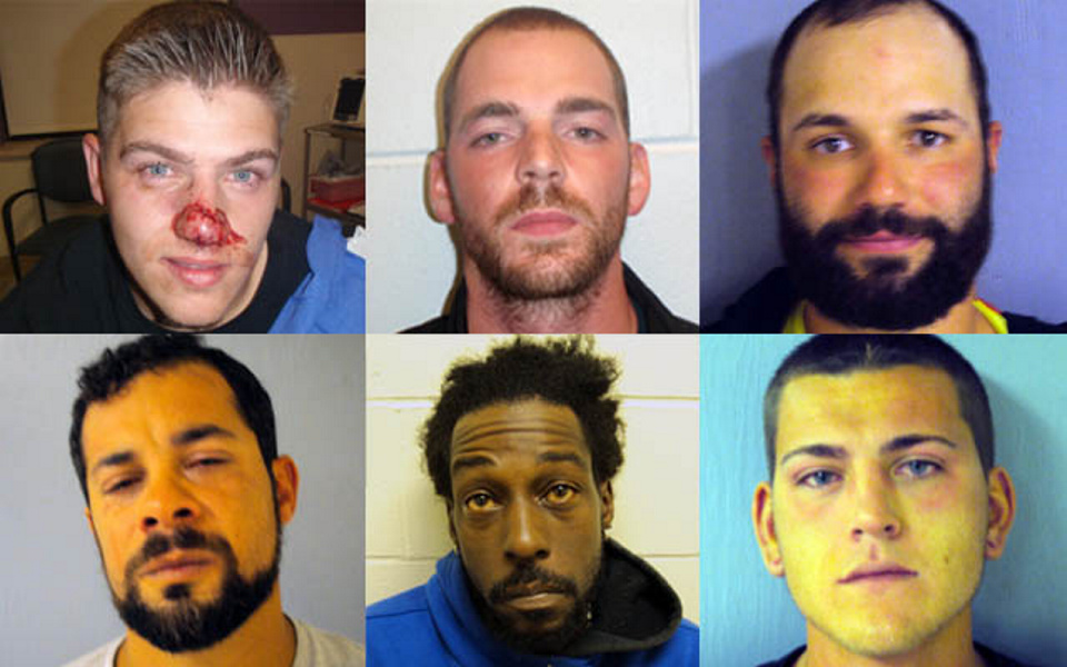 Arrested after a brawl Saturday morning in Waterville were, top row, left to right, Billy Jasper Trivette, Timothy Michael Thayer and Wilfredo Otero. Bottom row, left to right, Luis Leon, Daniel Gilkes and Thomas Dylan Cason.