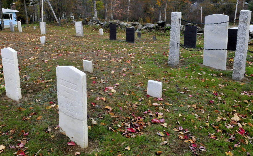 The cemetery along the Red Schoolhouse Road in Farmington on Tuesday. The town removed three Revolutionary War grave markers from headstones at the cemetery in an attempt to preserve them, but the Daughters of the American Revolution said the removal violates state law and asked they be returned.