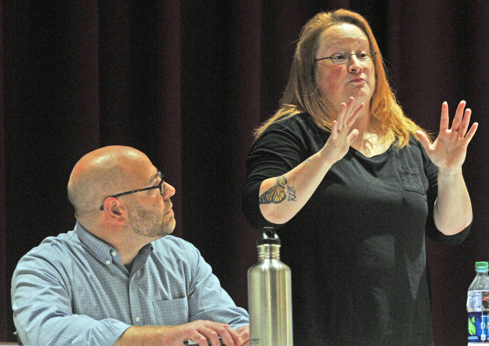 Hallowell City Council Ward 4 candidates Diano Circo, left, and Andrea Mooney take part in a candidates forum Tuesday at Hallowell City Hall.