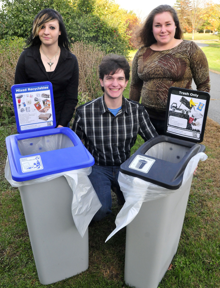 Unity College students have created a a survey for Winslow residents to help the town make decisions about solid waste disposal. From left, at Unity, are Grace Wilson, Henry Symanski and Jenna Rippee.