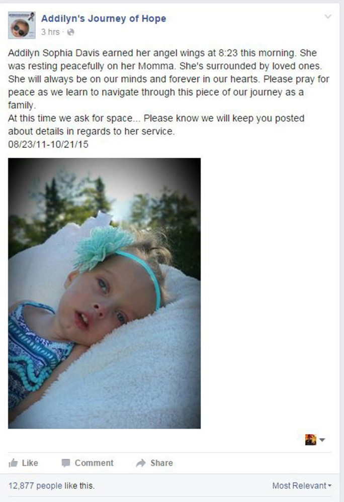 """A Wednesday morning post told followers of the """"Addilyn's Journey for Hope"""" Facebook page that Addilyn had died. The 4-year-old had Krabbe disease, and the page had generated more than 116,000 followers as her family raised awareness of the rare genetic disorder that attacks the central nervous system."""