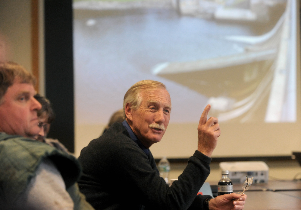 U.S. Senator Angus King, answers questions during a visit to Madison Paper Industries earlier this month. King and UPM President Russ Dreschel testified before the U.S. International Trade Commission Thursday on the damages that Canadian government subsidies to its paper mills have had on Maine's paper mills.