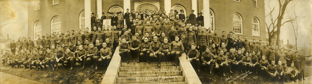 A large group of World War I soldiers and sailors gathered for a photo in front of the old YMCA in Augusta in this 1919 photo.