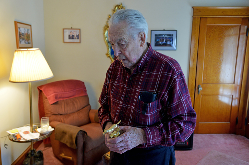 Joe Boudreau, 91, who raised 11 children, trapped, fished and hunted more than 40 years, taught all his children to do the same. He worked at Maine Central Railroad, kept four gardens, did side jobs and earlier this year was awarded the Maine Department of Inland Fisheries and Wildlife's Lifetime Outdoor Achievement Award.