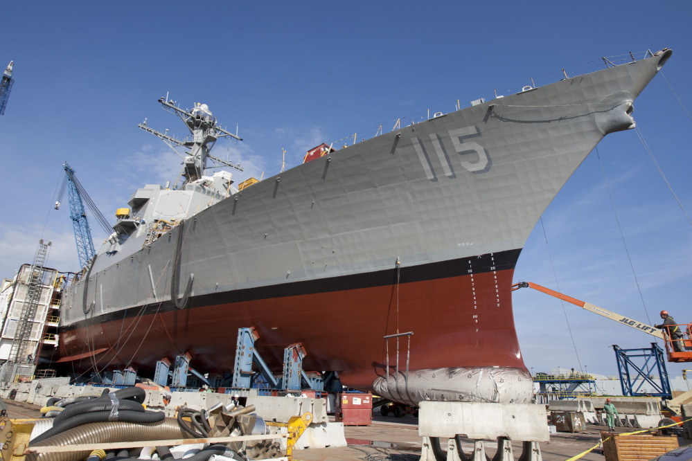 This Oct. 21 photo provided by General Dynamics Bath Iron Works shows the future USS Rafael Peralta at Bath Iron Works in Bath. The warship is named for a Marine killed nearly 11 years ago in Iraq. Peralta's mother will break a bottle of champagne on the ship's bow at a christening ceremony on Saturday.