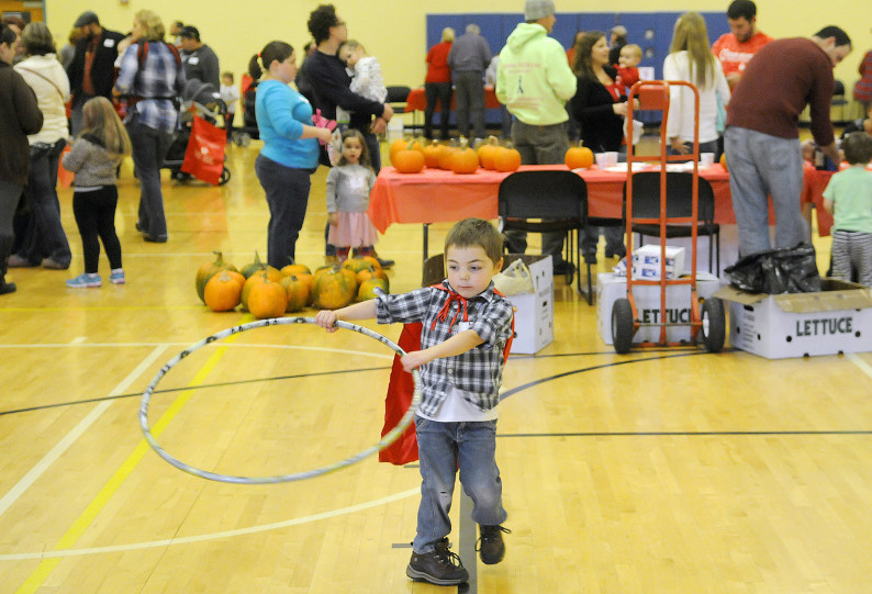 Brodyn Rood, 5, of Albion, busts a move Sunday during the Little Heart Hero Day at the Augusta YMCA. Rood and other children with heart afflictions played together during the event.