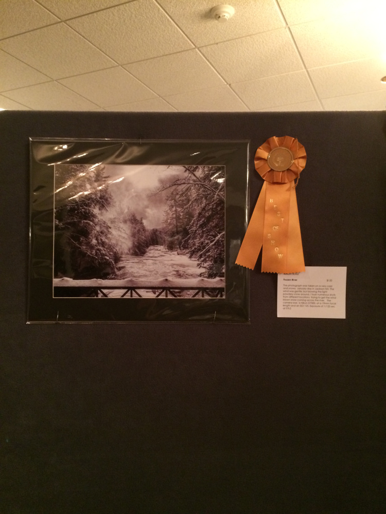 William Burke's photograph titled Frozen River was the winner of Best in Show at the Western Mountainn Photography Show held in Rangeley.