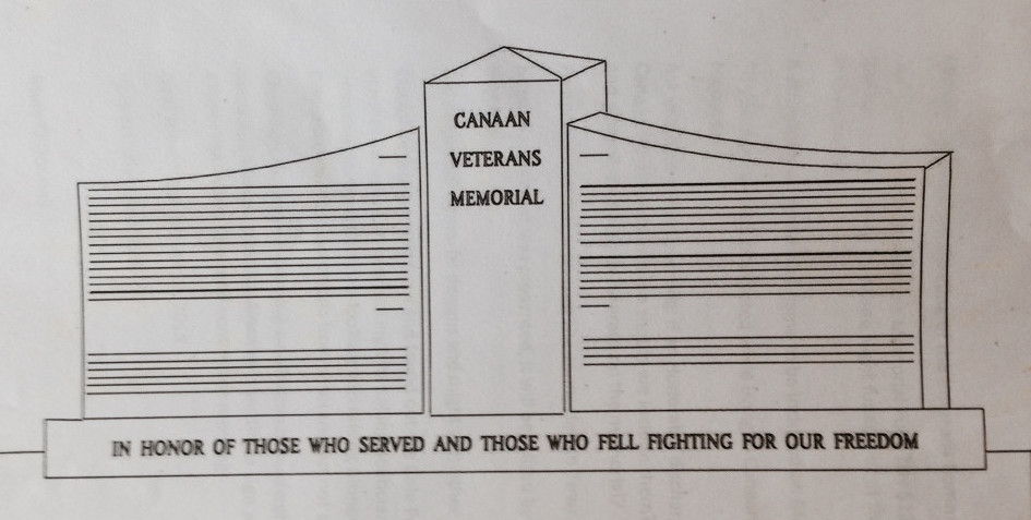 A drawing shows a proposed Canaan Veterans Memorial.