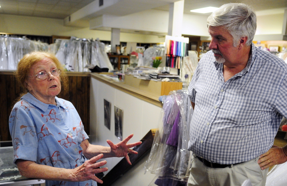 Patricia Buck, owner of Patricia Buck Bridal, and Steve Pecukonis, executive director of Augusta Downtown Alliance, talk about plans for a new owner to buy and renovate 275 Water St. on Aug. 25 in Augusta.