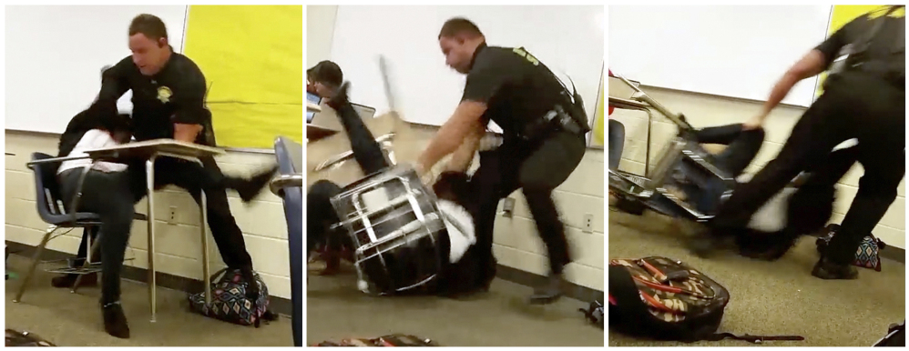 This three image combo made from video taken by a Spring Valley High School student on Monday, Oct, 26, 2015, shows Senior Deputy Ben Fields trying to forcibly remove a student from her chair after she refused to leave her high school math class, in Columbia S.C.