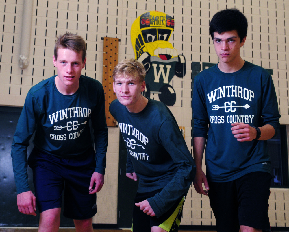 Winthrop cross country team members Jacob Hickey, left, Jesse Stevens, center, and William Vance will lead the Ramblers in the Class C state championship Saturday at Twin Brook in Cumberland.